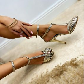 PATENT SANDALS WITH BELTS AND THIN HEEL - GOLD