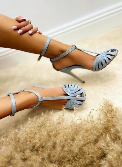 VELOUR SANDALS WITH THIN HEEL AND BELT - BLUE