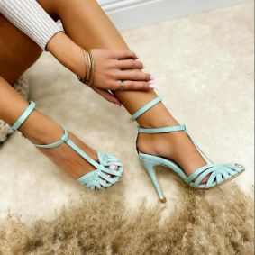 VELOUR SANDALS WITH THIN HEEL AND BELT - MINT