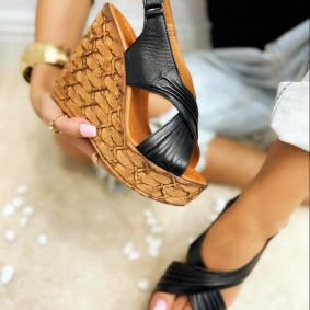 Leather sandals VALLA - BLACK