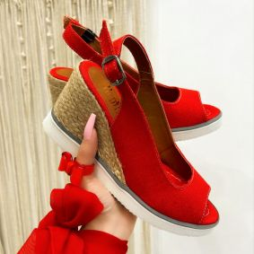 WEDGE SANDALS WITH JUTA - RED