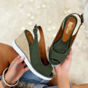 WEDGE SANDALS WITH JUTA - GREEN