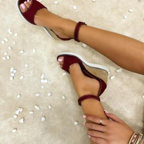 WEDGE SANDALS WITH JUTA - MAROON