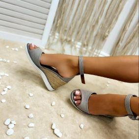 WEDGE SANDALS WITH JUTA - GRAY