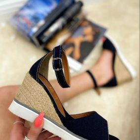 WEDGE SANDALS WITH JUTA - NAVY BLUE