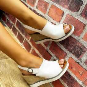 WEDGE SANDALS WITH JUTA AND SAW - WHITE