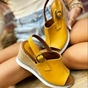 WEDGE SANDALS WITH JUTA AND SAW - OCHER