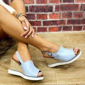 WEDGE SANDALS WITH JUTA AND SAW - BLUE
