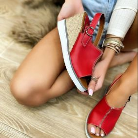 WEDGE SANDALS WITH JUTA AND SAW - RED