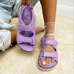 SPORT FLAT SANDALS WITH VELCRO BAND - PURPLE