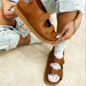 SPORT FLAT SANDALS WITH VELCRO BAND - CAMEL