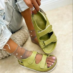 SPORT FLAT SANDALS WITH VELCRO BAND - GREEN