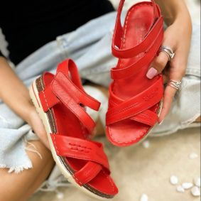Leather sandals NATURA - RED