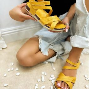 Leather sandals NATURA - YELLOW