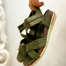 Leather sandals NATURA - GREEN
