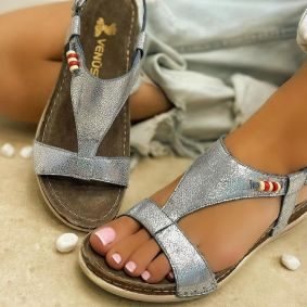 Leather sandals BEADS - BLUE