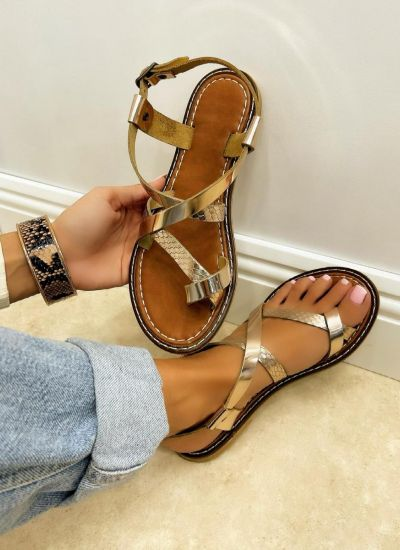 Leather sandals NAPOLI - GOLD
