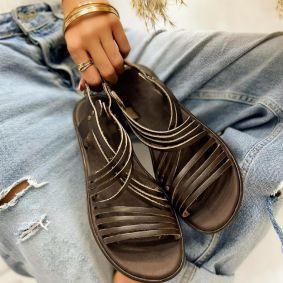 Leather sandals FABIA - BROWN
