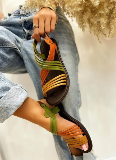 Leather sandals FABIA - MULTICOLOR