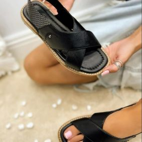 Leather sandals TERRA - BLACK