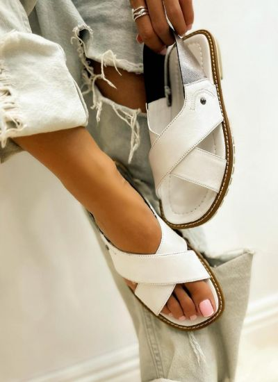 Leather sandals TERRA - WHITE