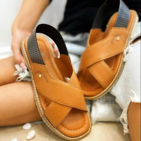 Leather sandals TERRA - CAMEL