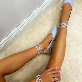 POINTED LACE UP SANDALS - BLUE