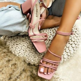SANDALS WITH BELT AND THICK HEEL - ROSE