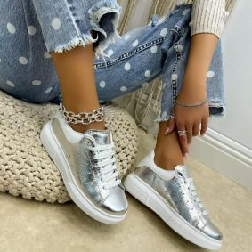 Leather sneakers BARBARA - SILVER