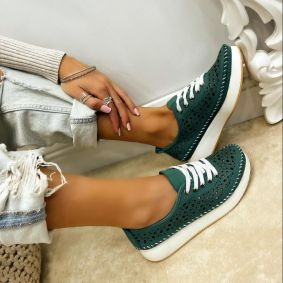 Leather sneakers PIPPA - GREEN