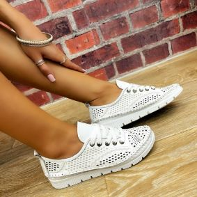 Leather sneakers BIANCA - WHITE
