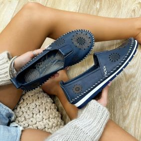 Flat leather shoes ZARAH - NAVY