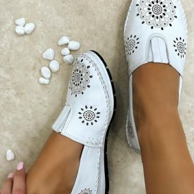 Flat leather shoes ZARAH - WHITE