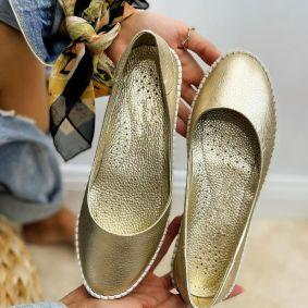 Leather ballet flats COCCO - GOLD