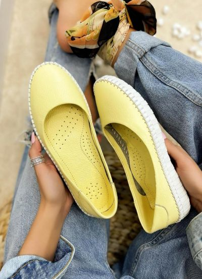 Leather ballet flats COCCO - YELLOW
