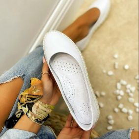 Leather ballet flats COCCO - WHITE