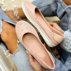 Leather ballet flats CARINA - ROSE