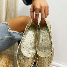 Leather ballet flats MONA - GOLD