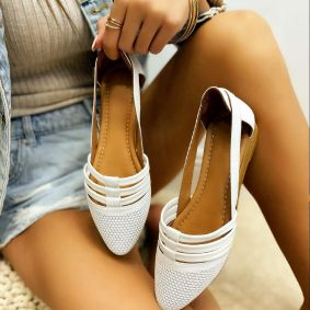 Leather ballet flats IVONE - WHITE