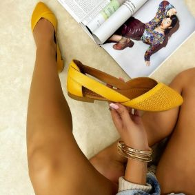 Leather ballet flats ELENA - YELLOW