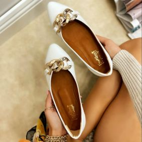 FLATS WITH CHAIN - WHITE