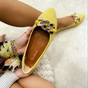 VELOUR FLATS WITH CHAIN - YELLOW
