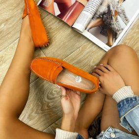 Leather moccasins CHIARA - ORANGE
