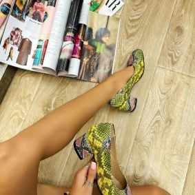 SNAKE STILLETO SHOES WITH THICK HEEL - GREEN