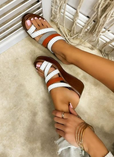 Leather slippers MARCELA - WHITE