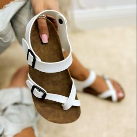 TOE LOOP SANDALS WITH BELT - WHITE
