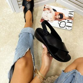 Leather sandals SOFIA - BLACK