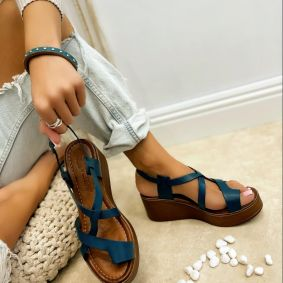 Leather sandals MAGDALENA - BLUE