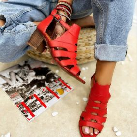 Leather sandals RIA  - RED