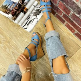 WEDGE SANDALS WITH BELTS - BLUE